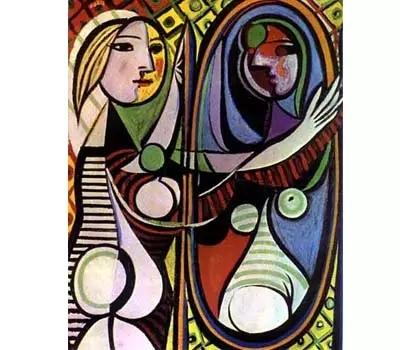 这是毕加索立体主义时期的作品 整个画面平面化,打破了传统的透视 为
